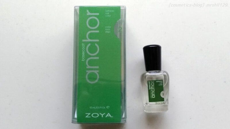 ZOYA アンカーベースコート、箱とボトルの画像